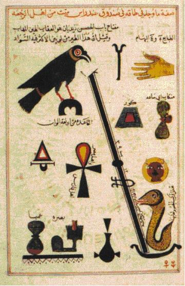 Symbols in medieval Arabic alchemy inspired by Egyptian hieroglyphs: Kitab al-Aqalim by Abu 'l-Qasim al-'Iraqi (British Library in London, MS Add 25724, folio 11a). Source : El Daly 2005, figure 12.