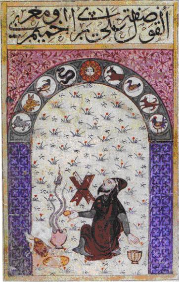 A medieval astrologer offering incense at the Temple of Akhmin (Arabic manuscript preserved at the Bodleian Library, MS Or 133, folio 29a). Source : El Daly 2005, figure 5.