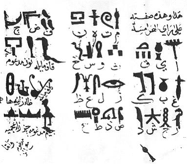 Egyptian alphabet according to Ibn Wahshiyya (Paris, Bibliothèque Nationale, MS Arabe 6805 folios 92b. ff).