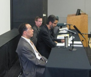 The author with Nidhal Guessoum and Ali Hassan on the Science and Islam Panel at University of Iowa